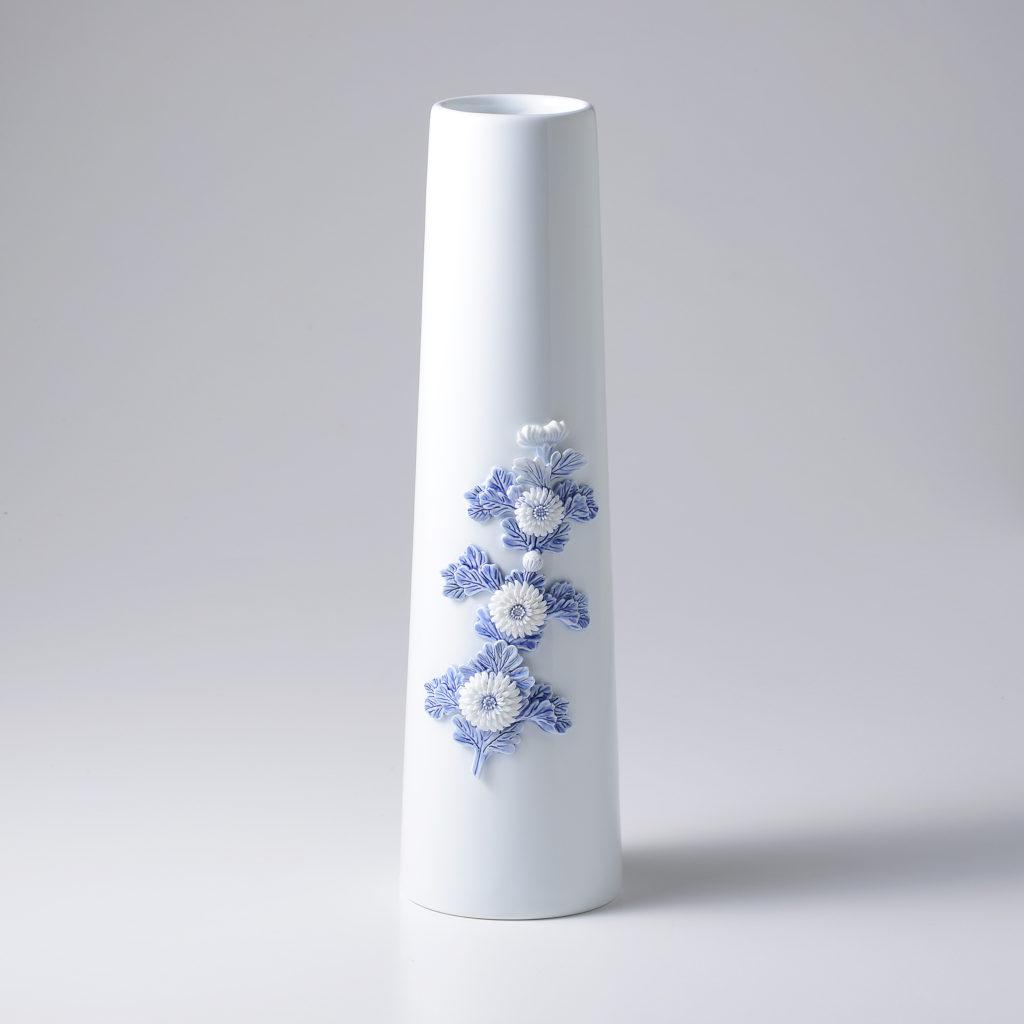 平戸菊花飾長形花瓶大